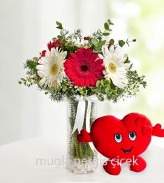 Cam vazoda kırmızı,beyaz gerberalar ve kalp yastık